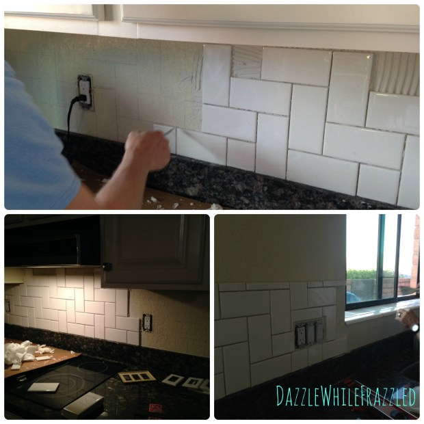 Alternative to traditional subway tile; stair step subway tile pattern