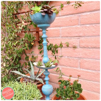 Turn a vintage candlestick into a freestanding candlestick plant stand for the garden | DazzleWhileFrazzled.com