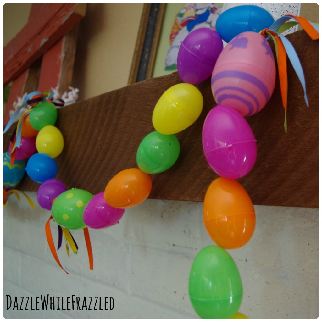 Decorate your mantel for Easter with DIY 3-step plastic Easter egg garland.