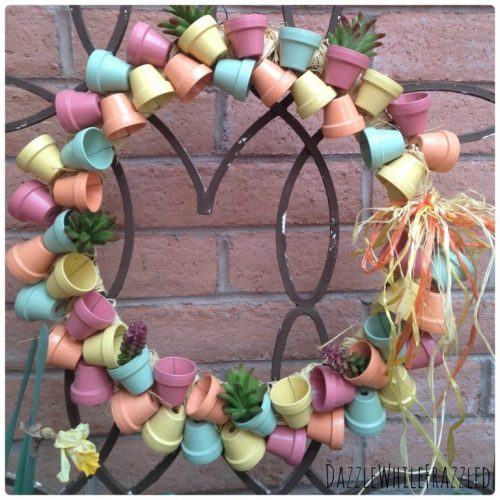 Make a miniature terra cotta flower pot wreath. Perfect for spring door decor. | Dazzle While Frazzled.com