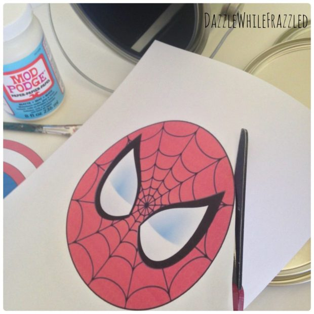 DIY Thrifty Superhero Paint Can Lid Emblems Wall Decor