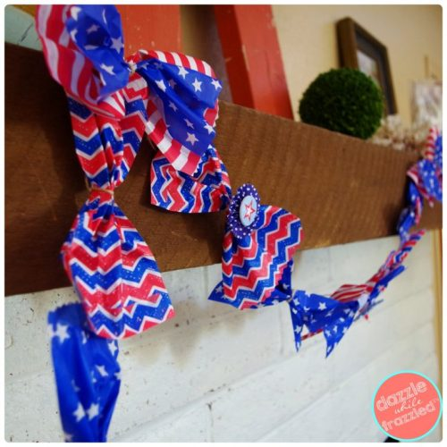 DIY Red White and Blue Patriotic Garland Using Paper Goodie Bags | Dazzle While Frazzled.com