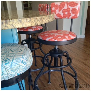 How to recover barstools and add a padded back to a stool.