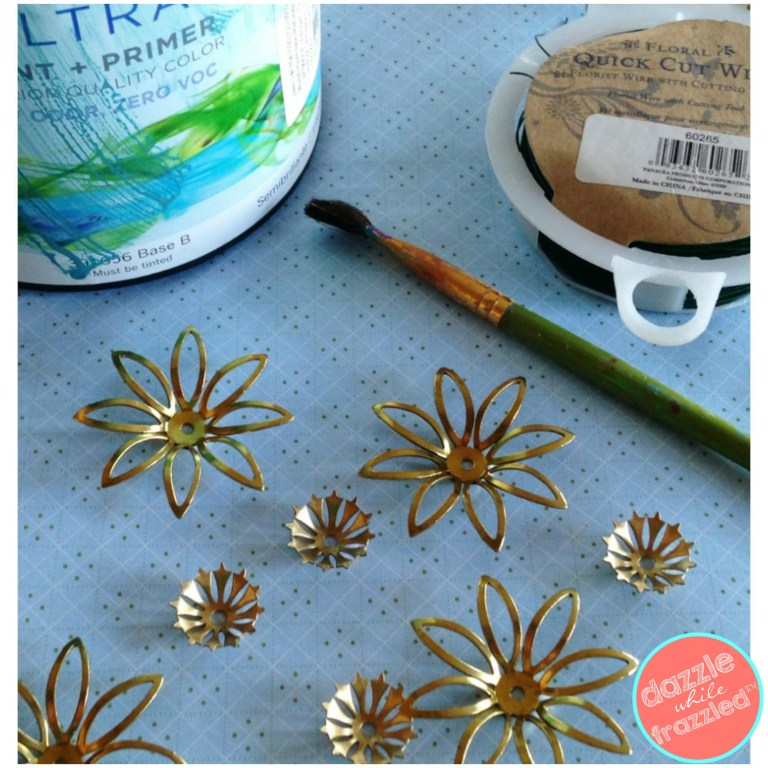 Use metal stamping flowers for accent on metal farmhouse basket for DIY ceiling fan update