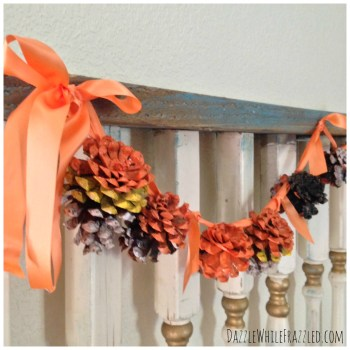 Create a Fall and Halloween garland using painted pinecones | DazzleWhileFrazzled.com