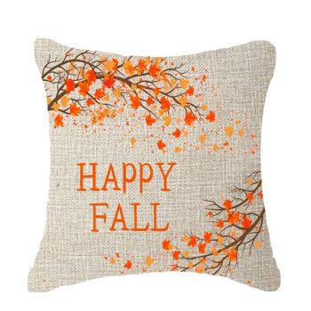 Happy Fall burlap autumn pillow for home
