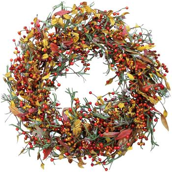 Autumn berries and foliage wreath for home. Autumn-Halloween-Thanksgiving