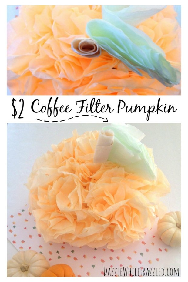 How to Make a $2 Coffee Filter Pumpkin | DazzleWhileFrazzled.com