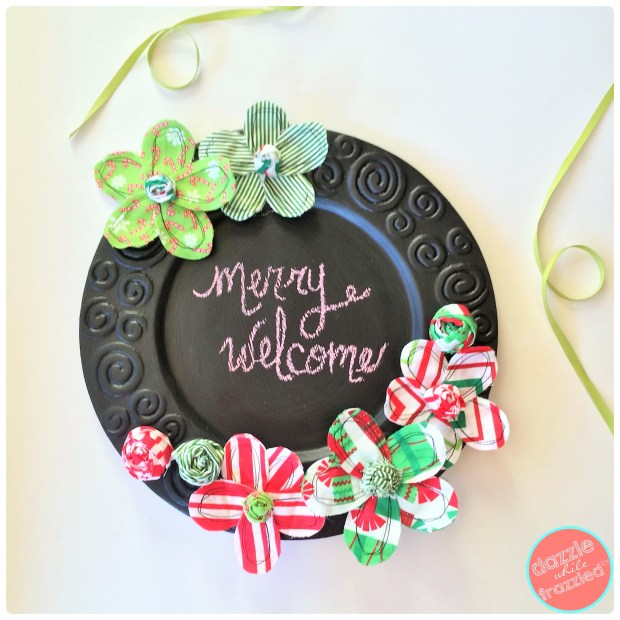 Make a Christmas chalkboard plate charger to use as a Christmas door hanger or as Christmas home decor | DazzleWhileFrazzled.com
