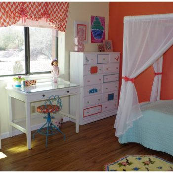 Easy ways to decorate girls bedroom on $140 budget with flea market and thrift store furniture.