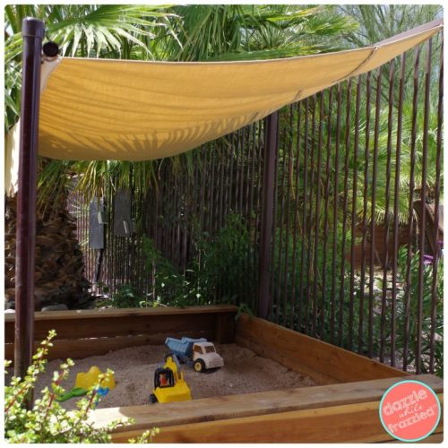 How to sew a fabric canopy cover for a kids backyard sandbox. Simple DIY sewing craft.|DazzleWhileFrazzled.com