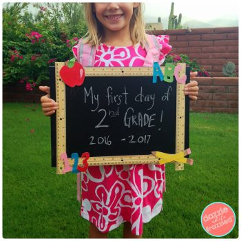 Make a DIY reusable chalkboard for first day and last day of school | Dazzle While Frazzled.com