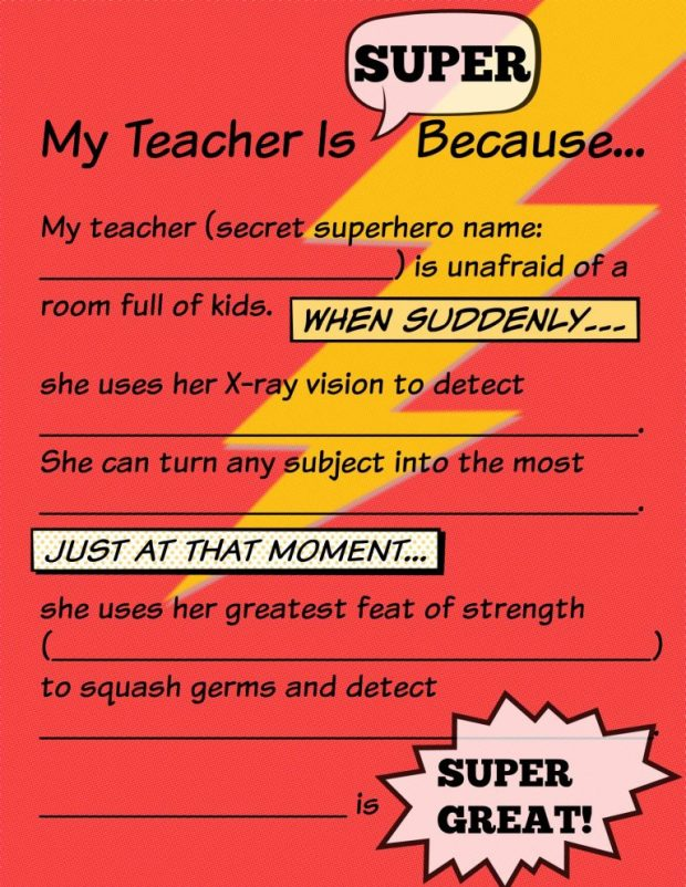 "Fill in the blank ""My Teacher Is Super"" free printable for teacher appreciation gift 