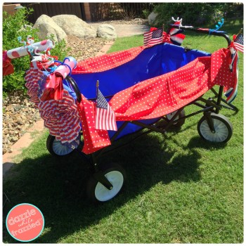 How to decorate a wagon or bike for 4th of July neighborhood parade.