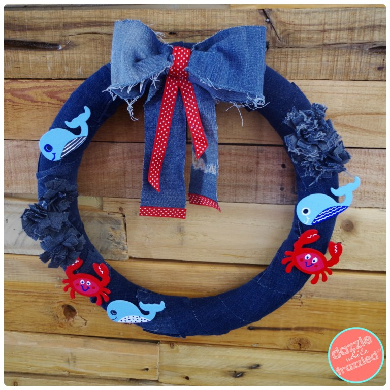 DIY Denim Nautical Ocean Door Wreath. How to use old jeans | DazzleWhileFrazzled.com