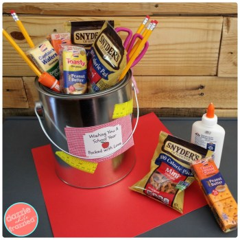 DIY Teacher Survival Kit with Printable Gift Tags. Back-to-School Teacher Gift Basket.