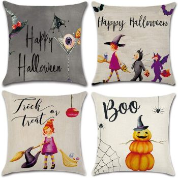 Set of 4 Halloween pillows you can buy on Amazon for Halloween home decor.
