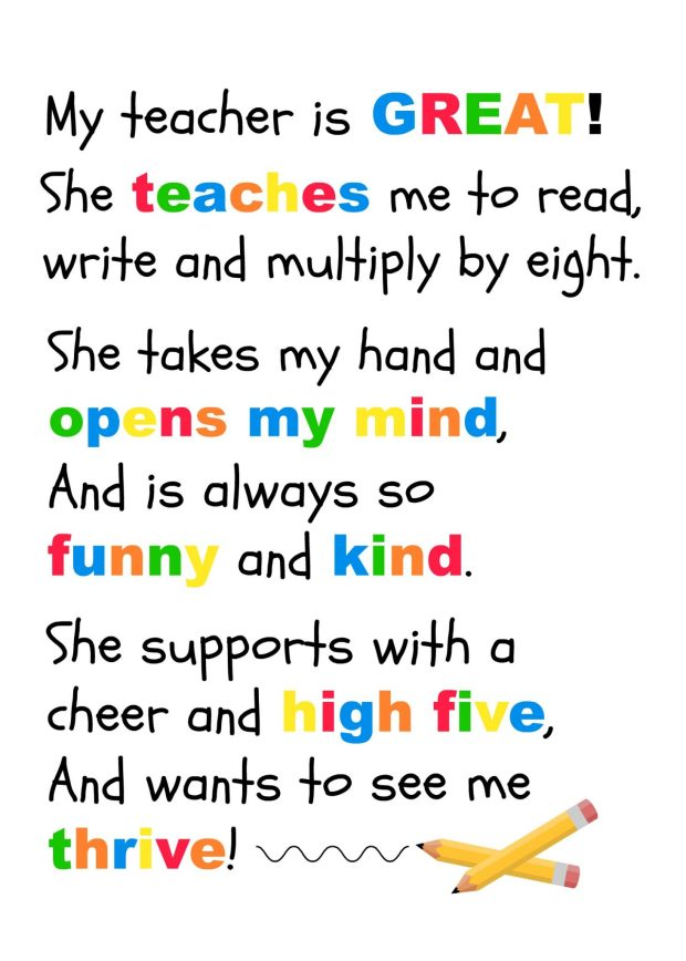Poem for teacher appreciation to fit into DIY Photo Frame for Teacher | DazzleWhileFrazzled.com