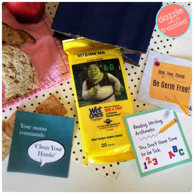 Put a reminder for kids to clean hands before eating with free printable germ-free lunch box notes | DazzleWhileFrazzled.com