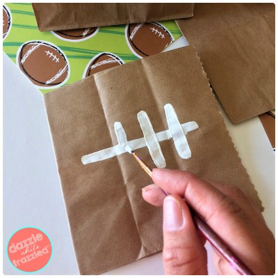 Host football tailgate party at home with football themed snack bags | DazzleWhileFrazzled.com