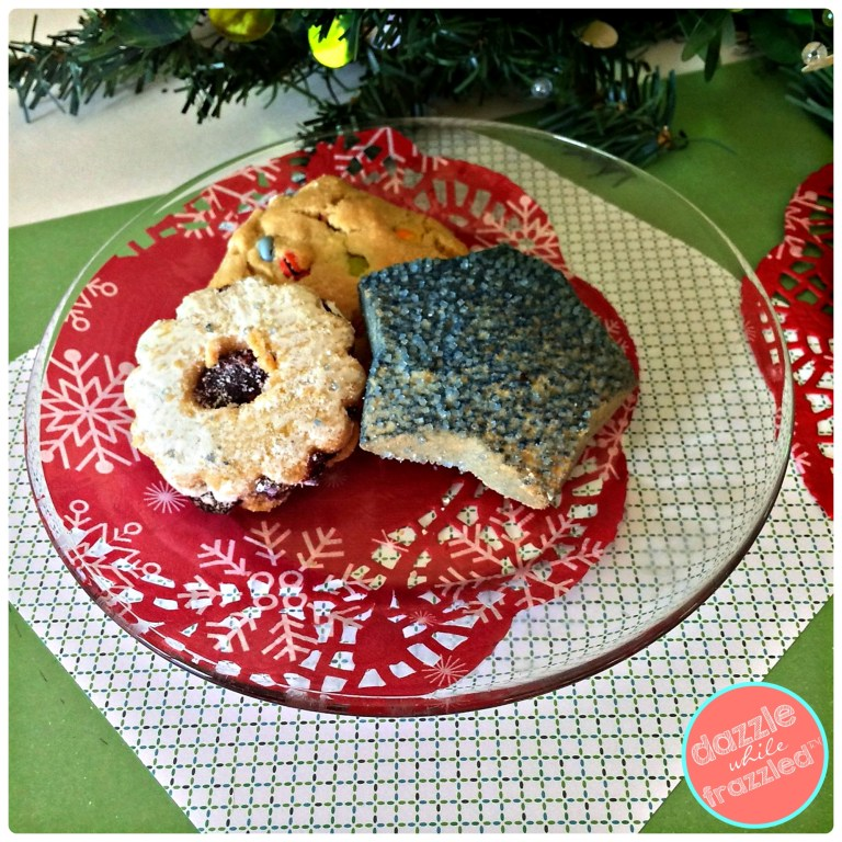 Cookies for Santa with a DIY Christmas holiday plate with a 5-minute craft using glass plate, paper doily and glue | DazzleWhileFrazzled.com