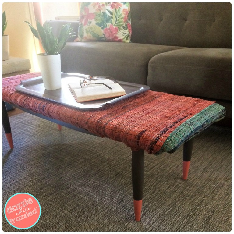 Cover a thrift store coffee table with a flat weave rug for custom coffee table bench | DazzleWhileFrazzled.com