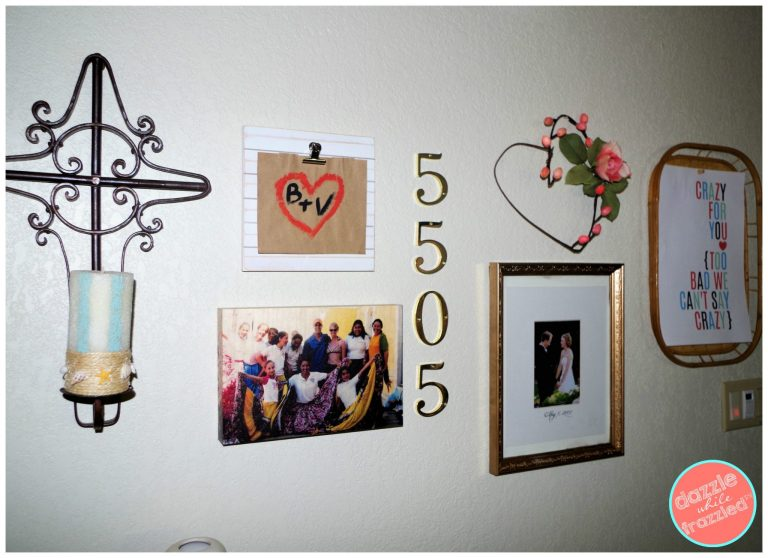 Create an easy gallery wall of couples photos in a master bedroom.