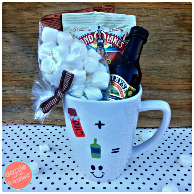 DIY hand painted coffee mug to make a loaded adult hot chocolate gift set.