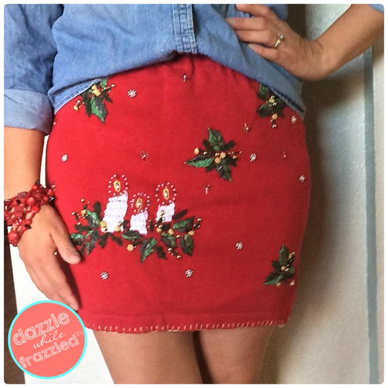Make Christmas holiday dress using ugly Christmas sweater to turn it into a cozy and warm ugly sweater skirt