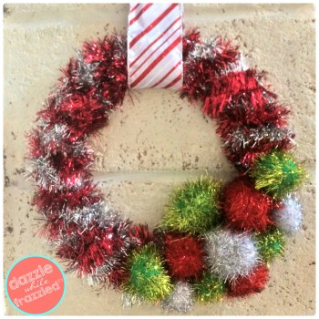 DIY 20-minute tinsel garland wreath for Christmas holidays