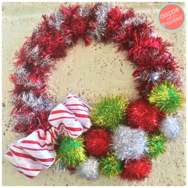 Festive 20-minute DIY retro tinsel garland wreath.