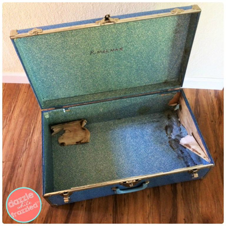 How to decorate with old vintage luggage. DIY home decor with vintage suitcases.