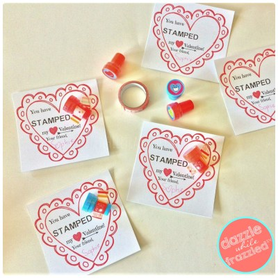 """DIY """"You have stamped my heart"""" kids Valentine's Day card with mini stamper attached"""