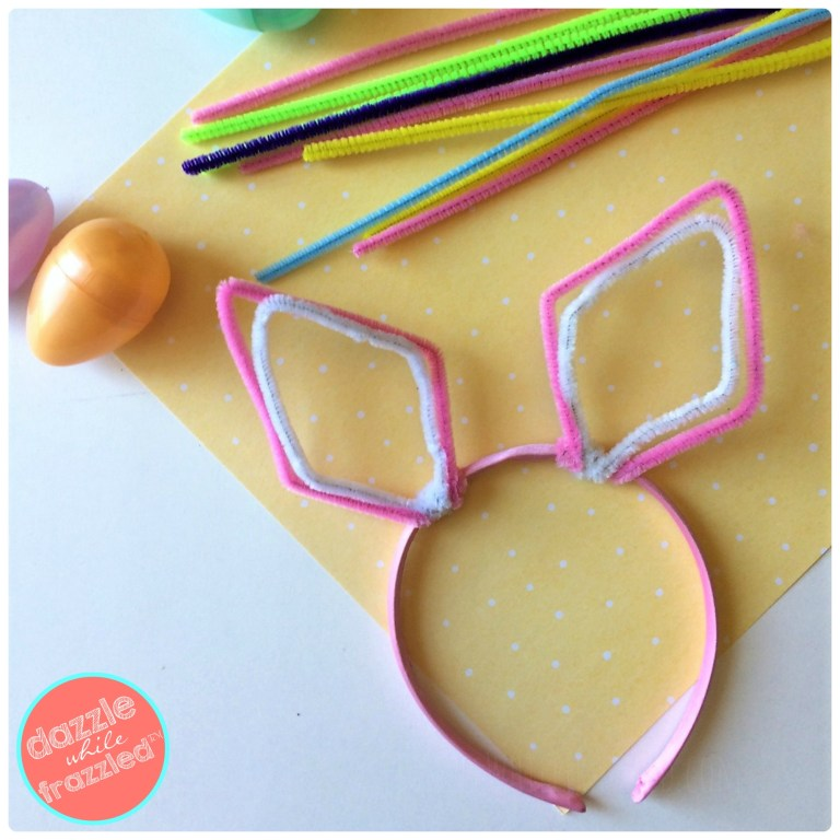 DIY 5-minute pipe cleaner Easter bunny ears from dollar store supplies