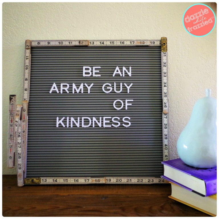 DIY message board letter board framed with vintage wooden folding ruler