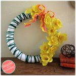 Make Easy, Pretty Spring Yarn Wreath with Faux Daffodils