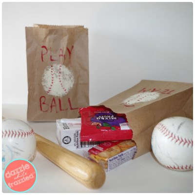 DIY brown paper lunch bag baseball themed snack bags for kids.