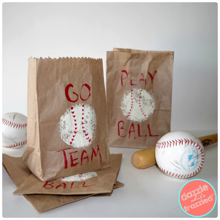 """Go Team"" and ""Play Ball"" DIY baseball snack bags for kids game day team snacks. Easy DIY goodie bags made from brown paper lunch sacks and craft acrylic paints."
