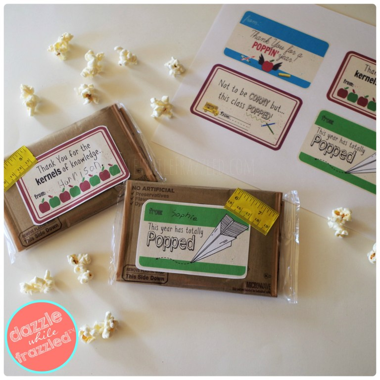 DIY teacher appreciation end of school year gift with thank you popcorn bag and free printable tags