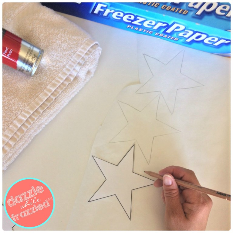 Trace shapes onto freezer paper, cut out and use as DIY stencils for kids beach towel craft.