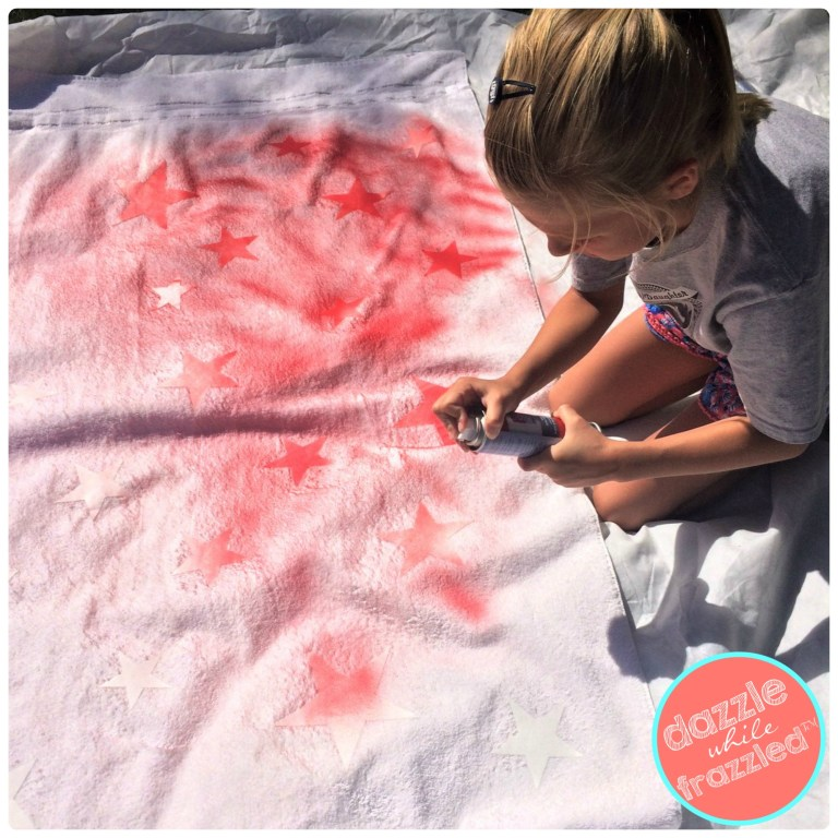 Use Tulip Color Shot fabric spray paint to make DIY summer beach towels for kids.