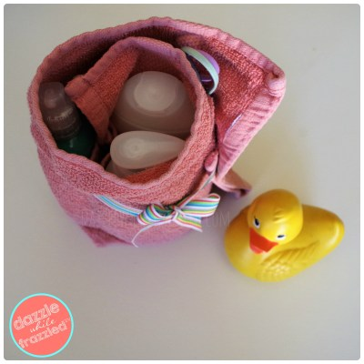DIY hand towel travel organizing pouch for kids JOHNSTON'S bath products.