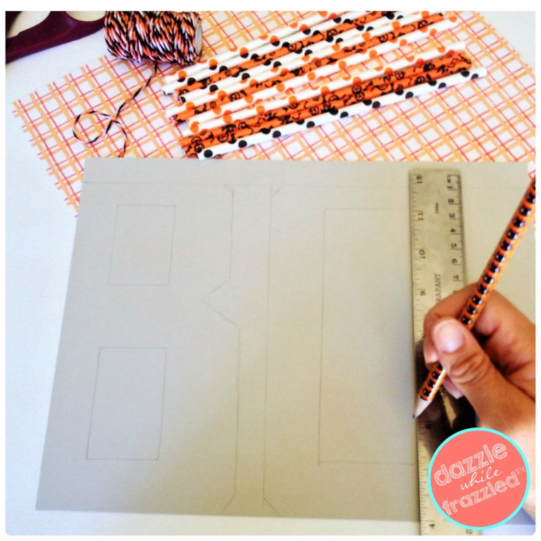 Sketch out words BOO and EEK to make Halloween text graphic signs using paper party straws and craft tacky glue.