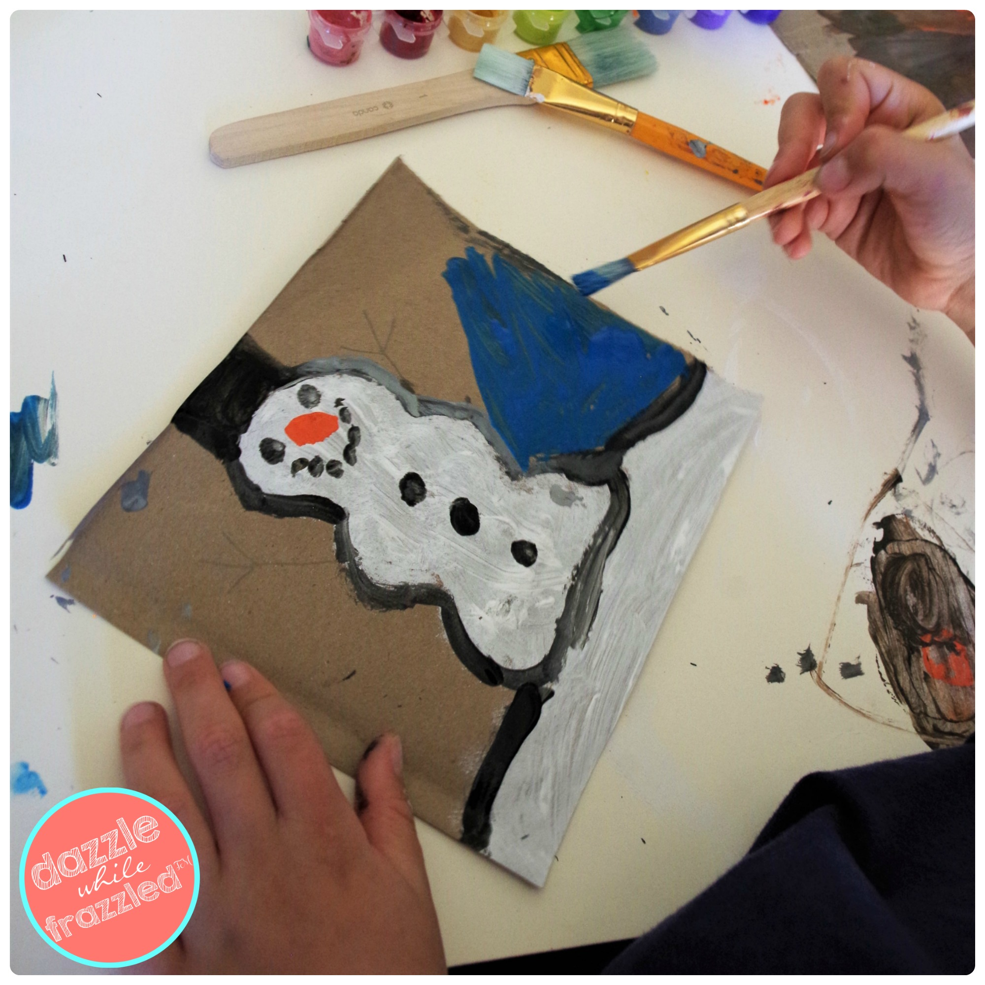Kids DIY snowman painting art project for winter and Christmas.