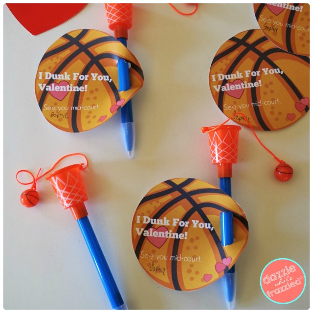 """I Dunk For You Valentine"" basketball hoop pen kids Valentine's Day card printable."