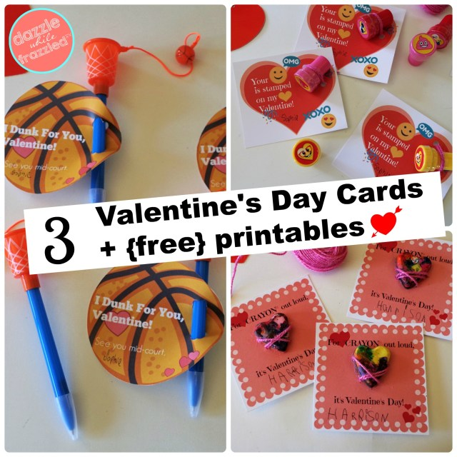 3 easy and cute kids Valentine's Day cards with printable cards to attach small toy.