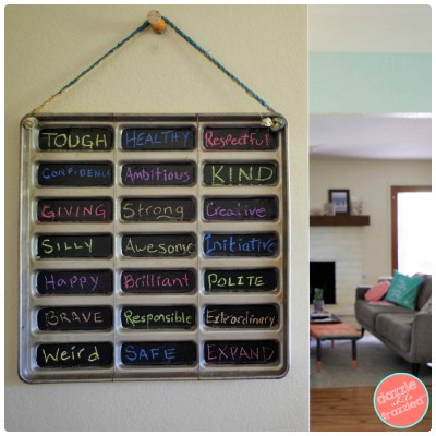 Fun DIY chalkboard sign for home with family words of the year from repurposed metal hot dog bun warming tray.