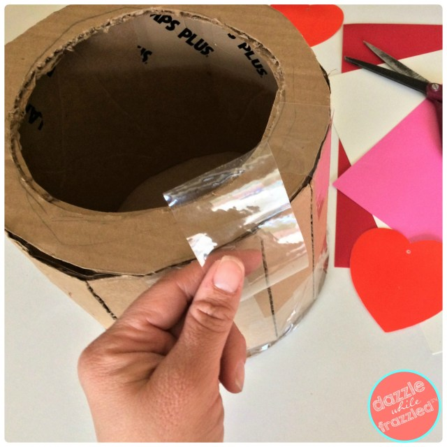 Use cardboard to make a round circle box for DIY kids Valentine's Day tiered cake card box holder.