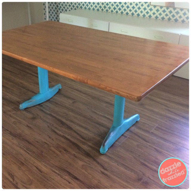 How to turn a thrift store kitchen table into DIY kids schoolhouse table for crafts and games.
