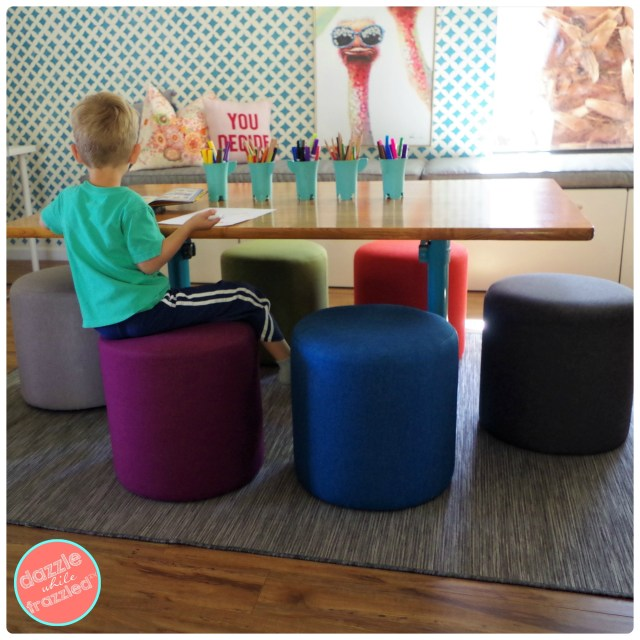 How to make retro kids schoolhouse craft and games table with colorful orb ottoman poufs by Kenwood Furnishings.